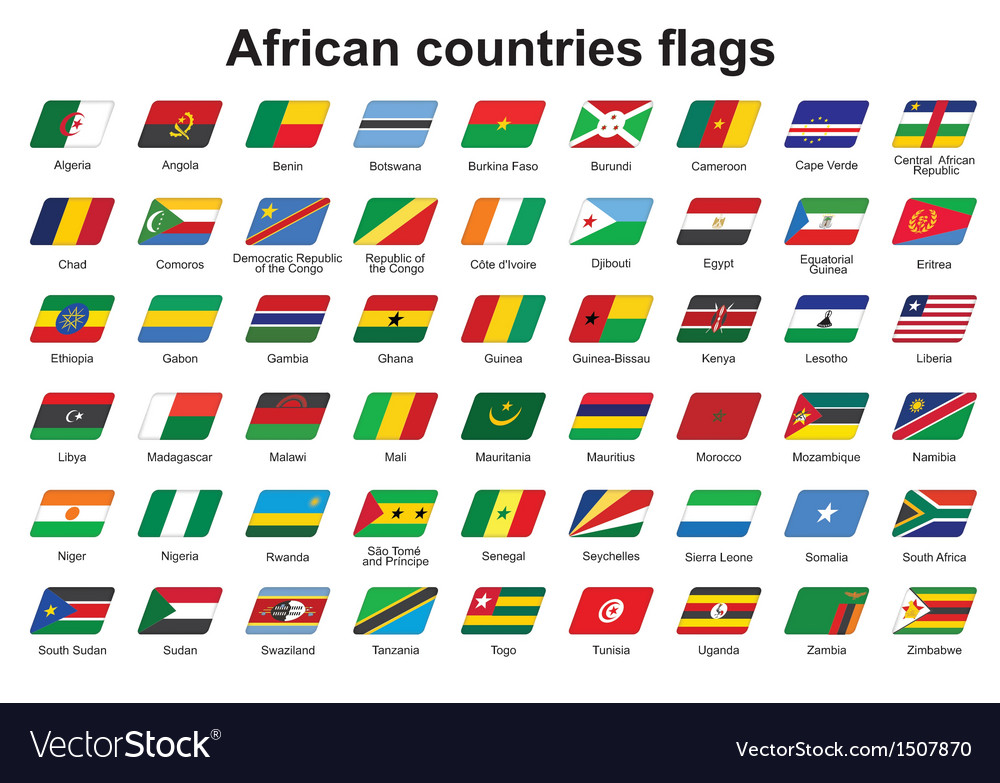 african countries flags icons royalty free vector image