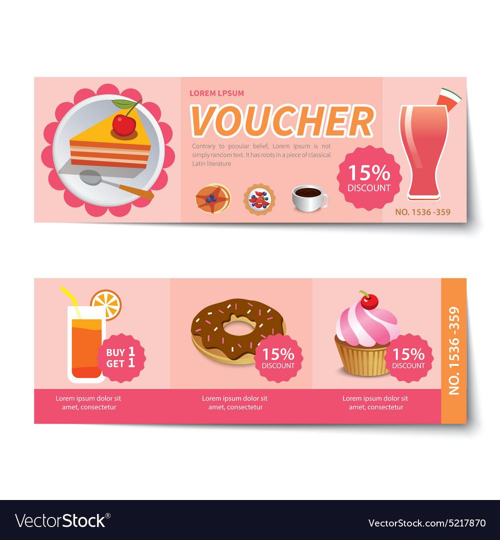 Bakery voucher discount template design vector image