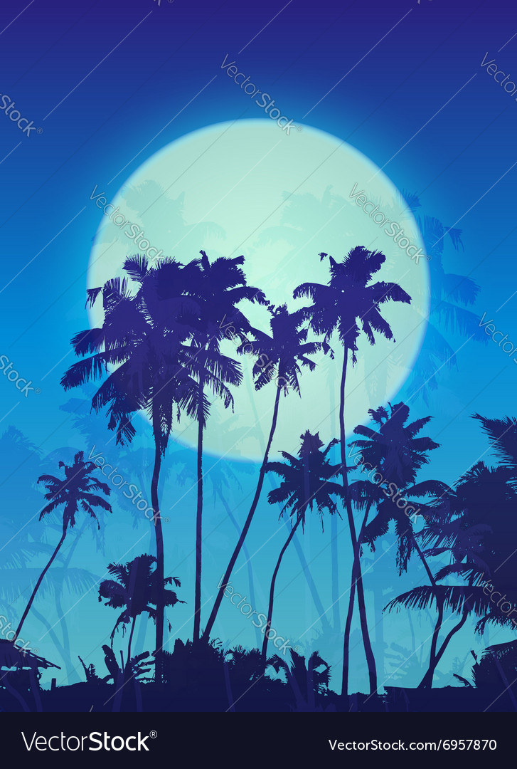 Blue moon with palm silhouettes poster background
