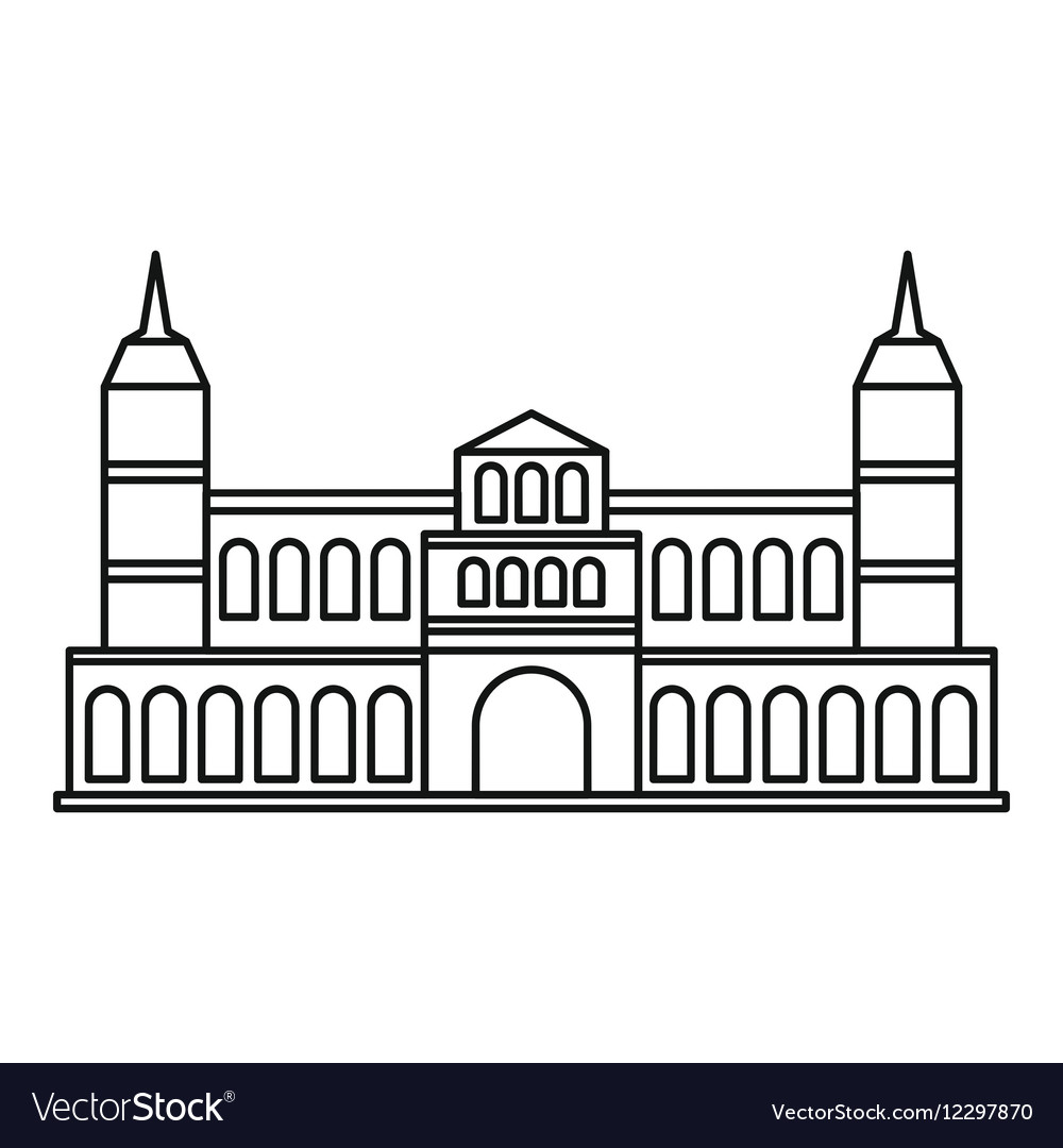 Castle Icon Outline Style Vector Image