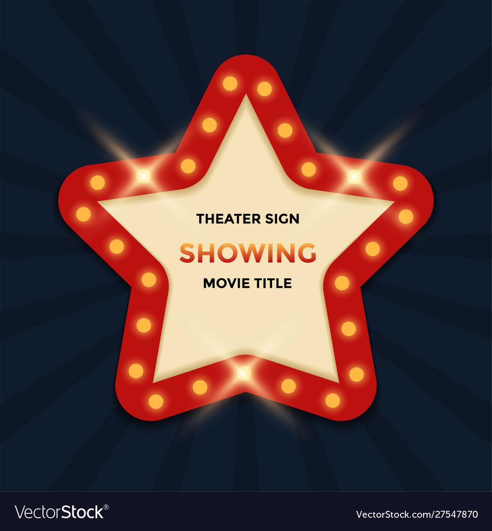 Cinema theater retro sign graphic template