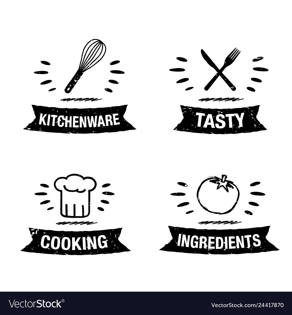 Handdrawn kitchen icon set with title