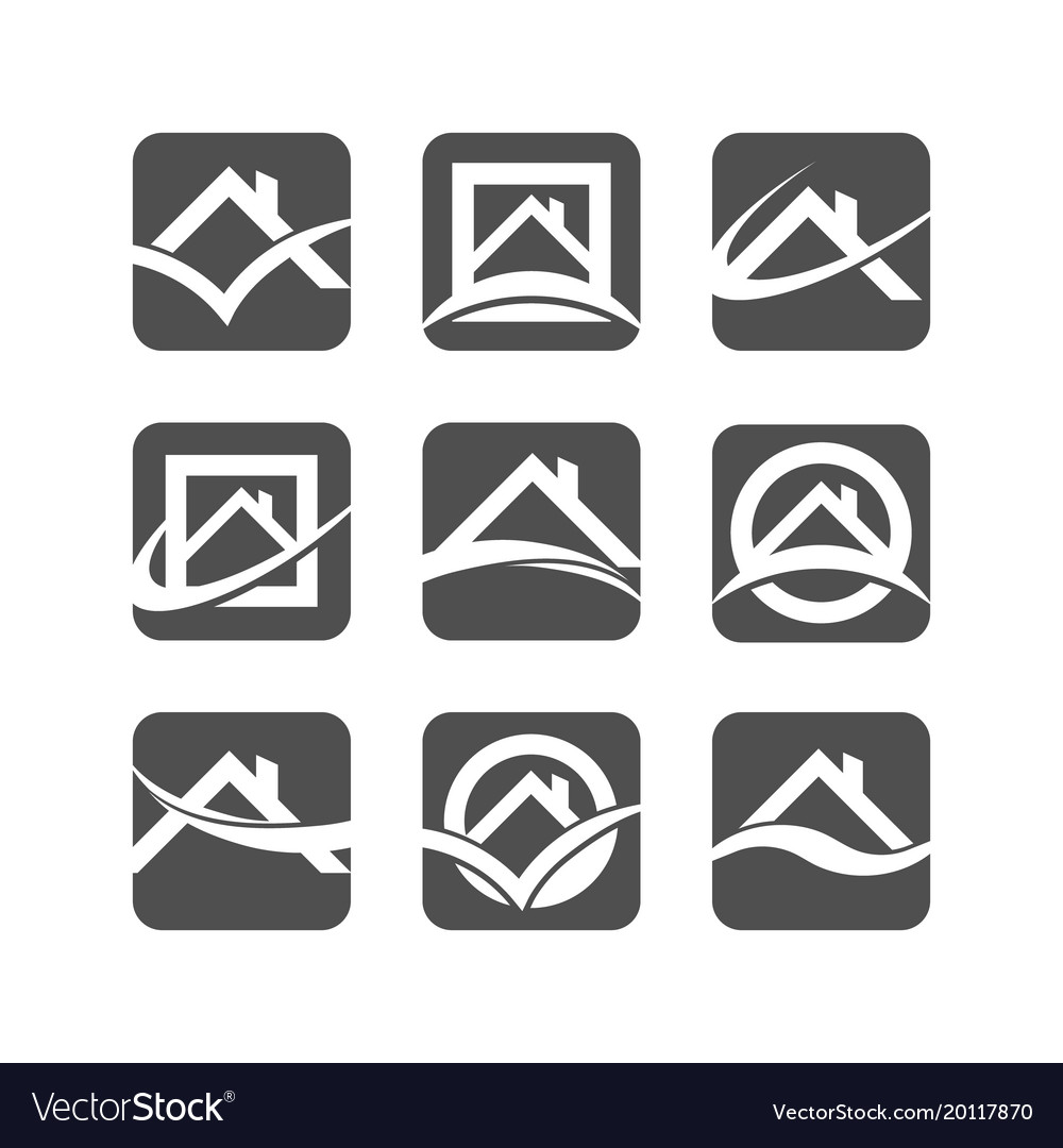 House roof logo icons vector image