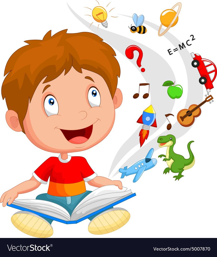 Little boy reading book education concept