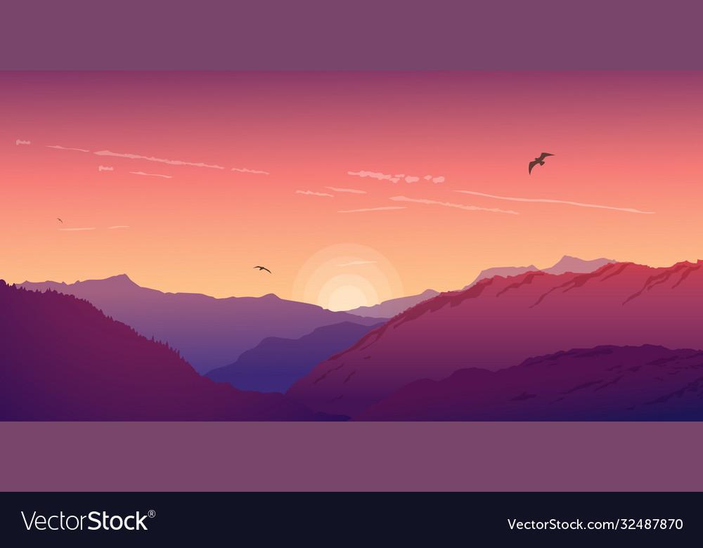 Mountain landscape under a purple morning sky