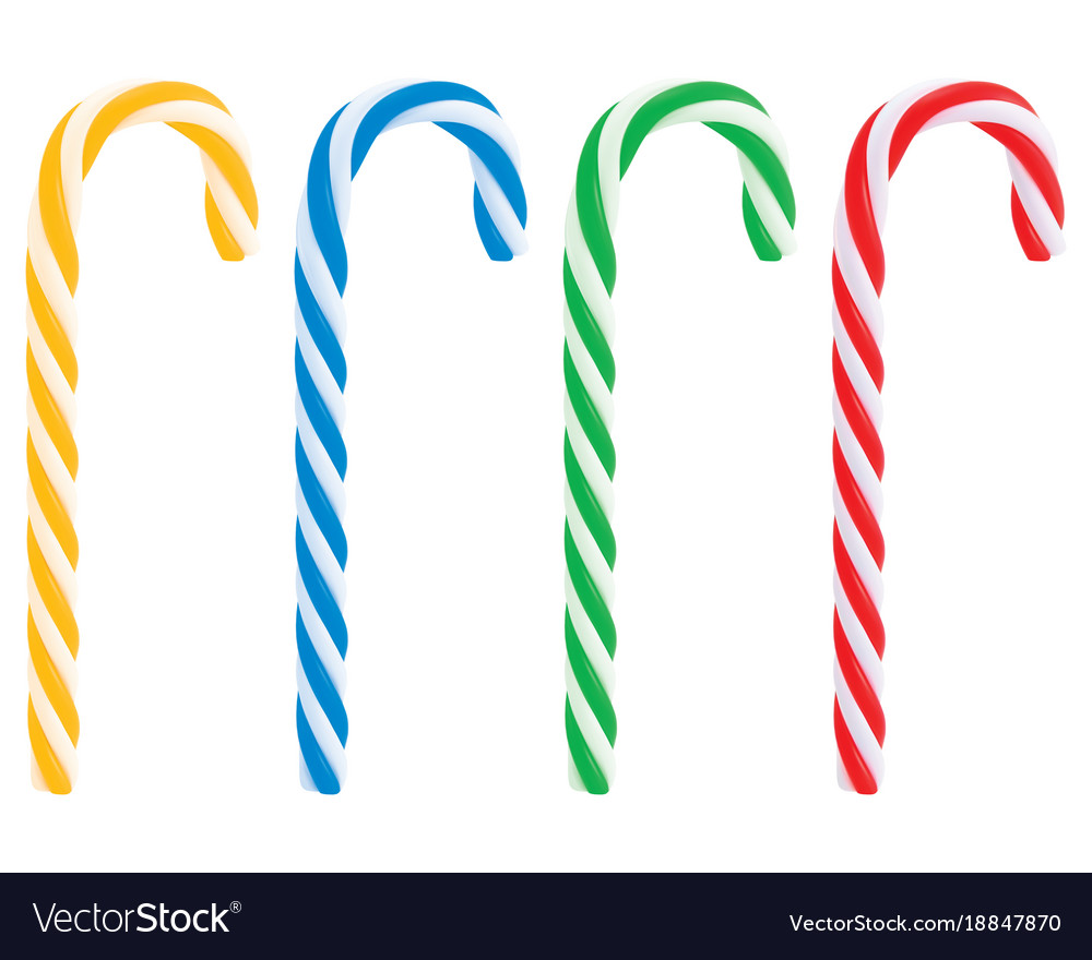 Set of realistic christmas candy cane 3d