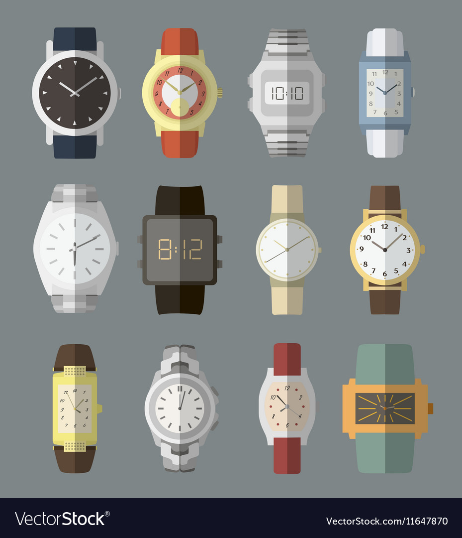 Set of watches vector image