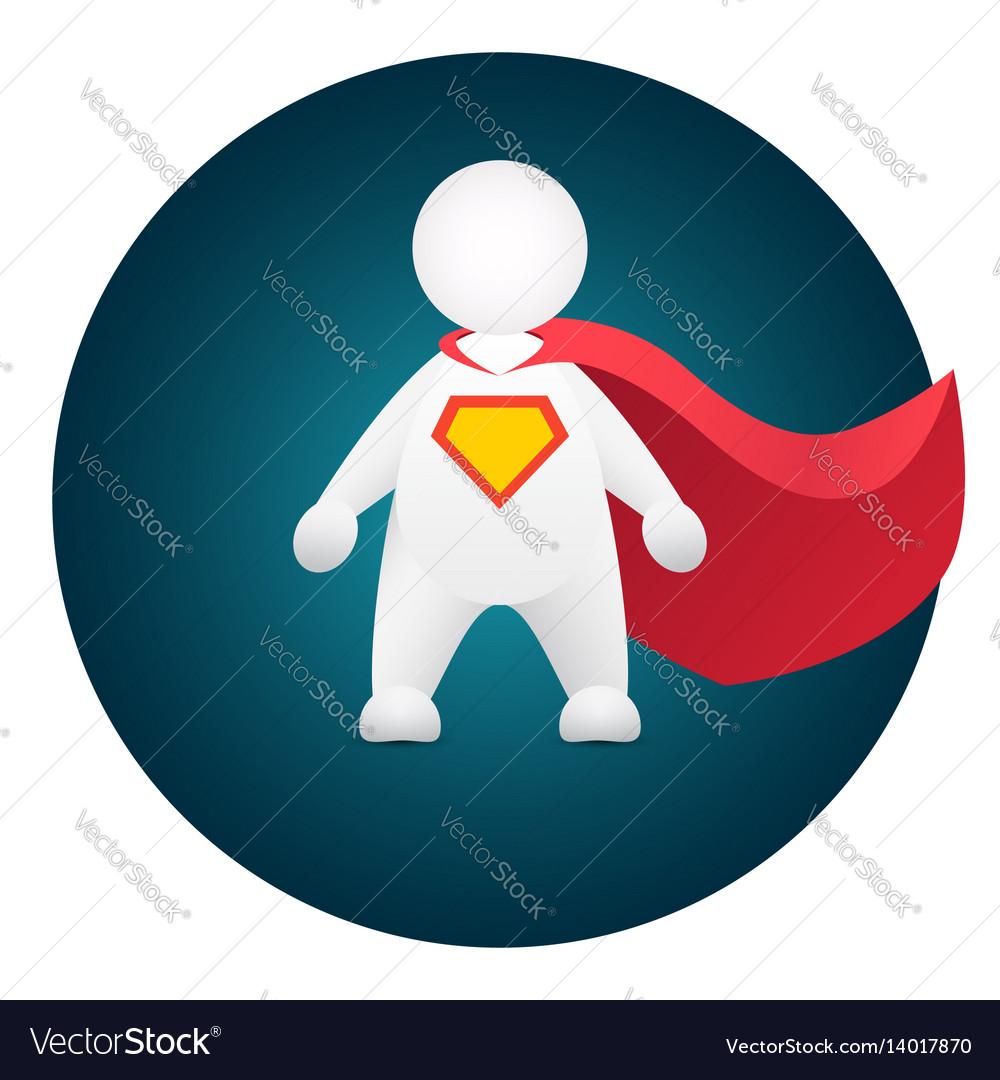 Superhero cartoon personage in red mantle