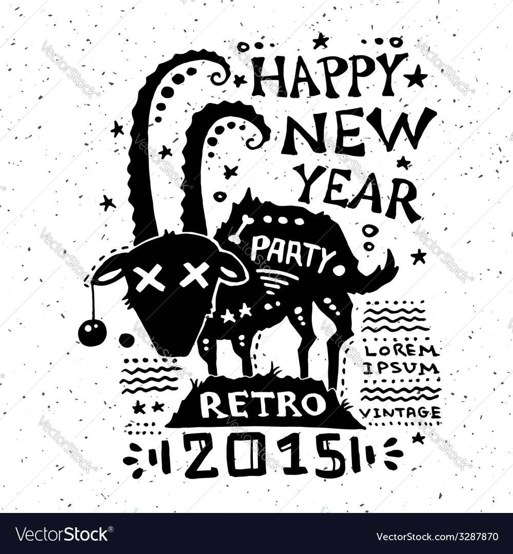 vintage grunge new year label vector image