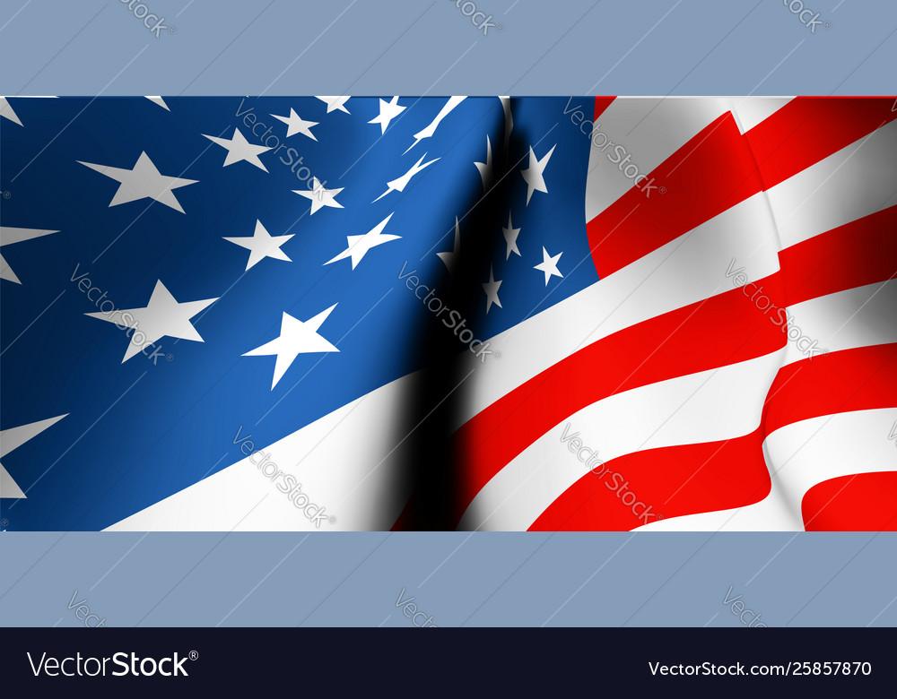 Waving usa flag close up wide angle view