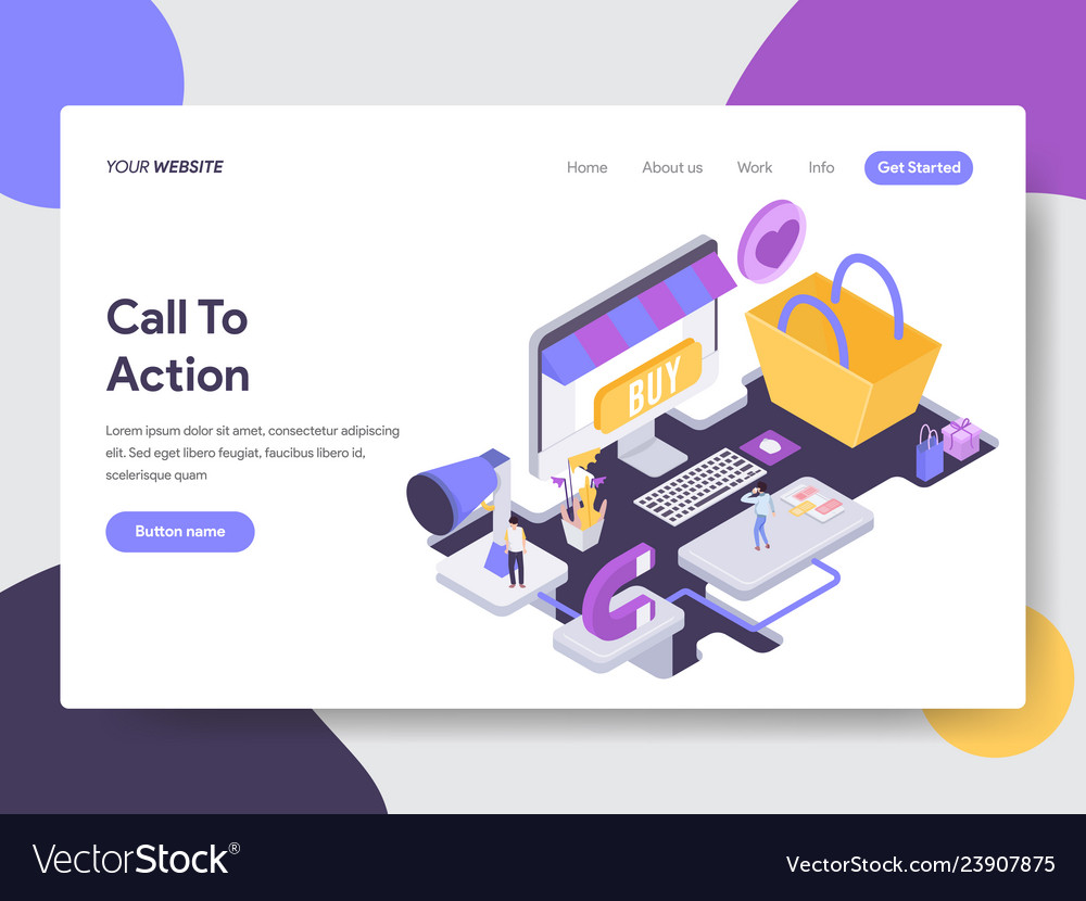 Call to action isometric