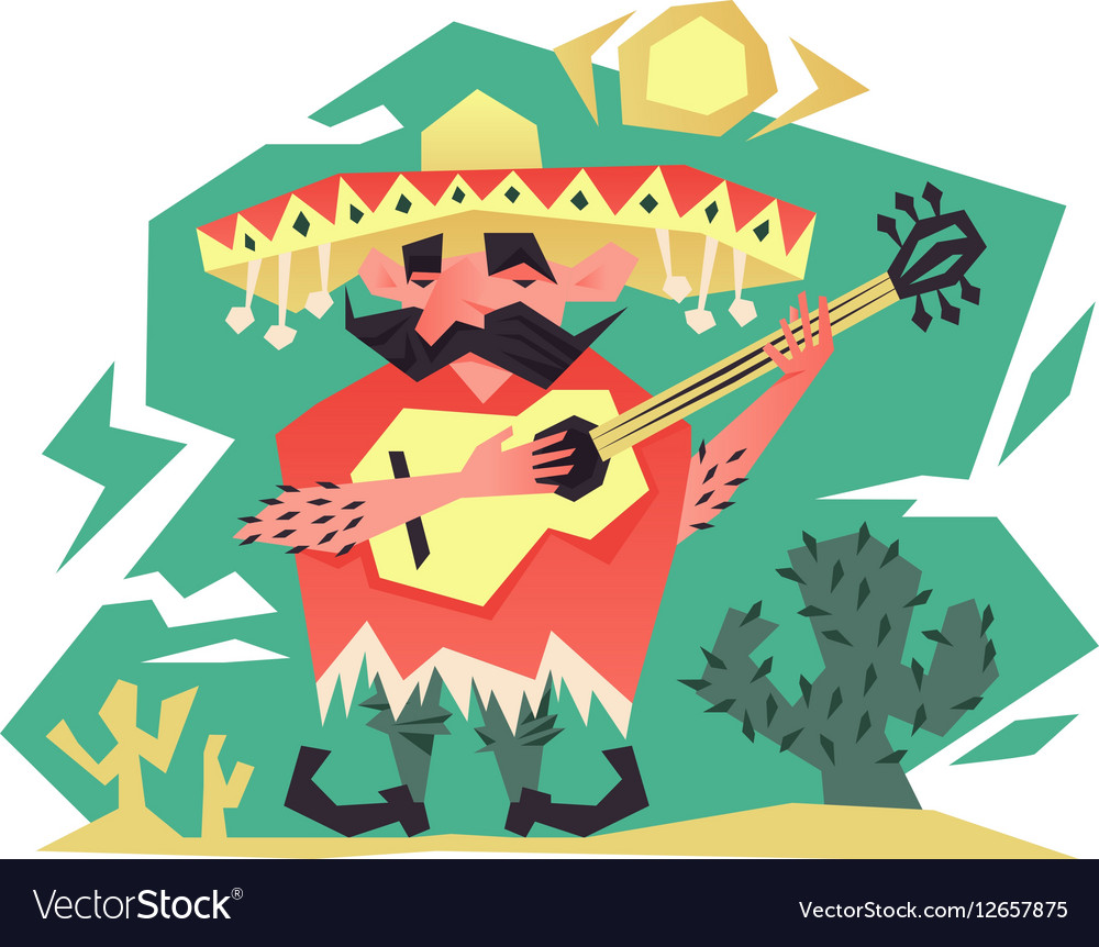 Cartoon mexican man vector image
