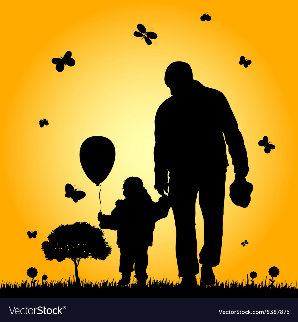 Child in nature with father Royalty Free Vector Image