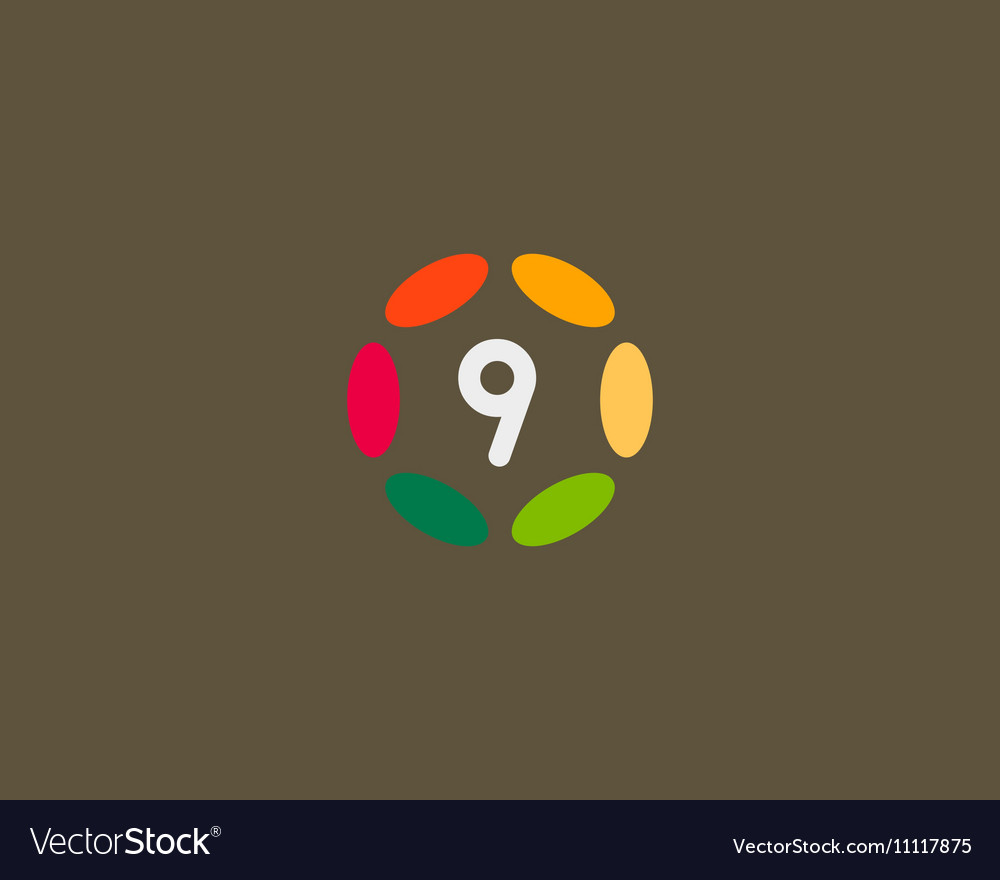 Color number 9 logo icon design Hub frame