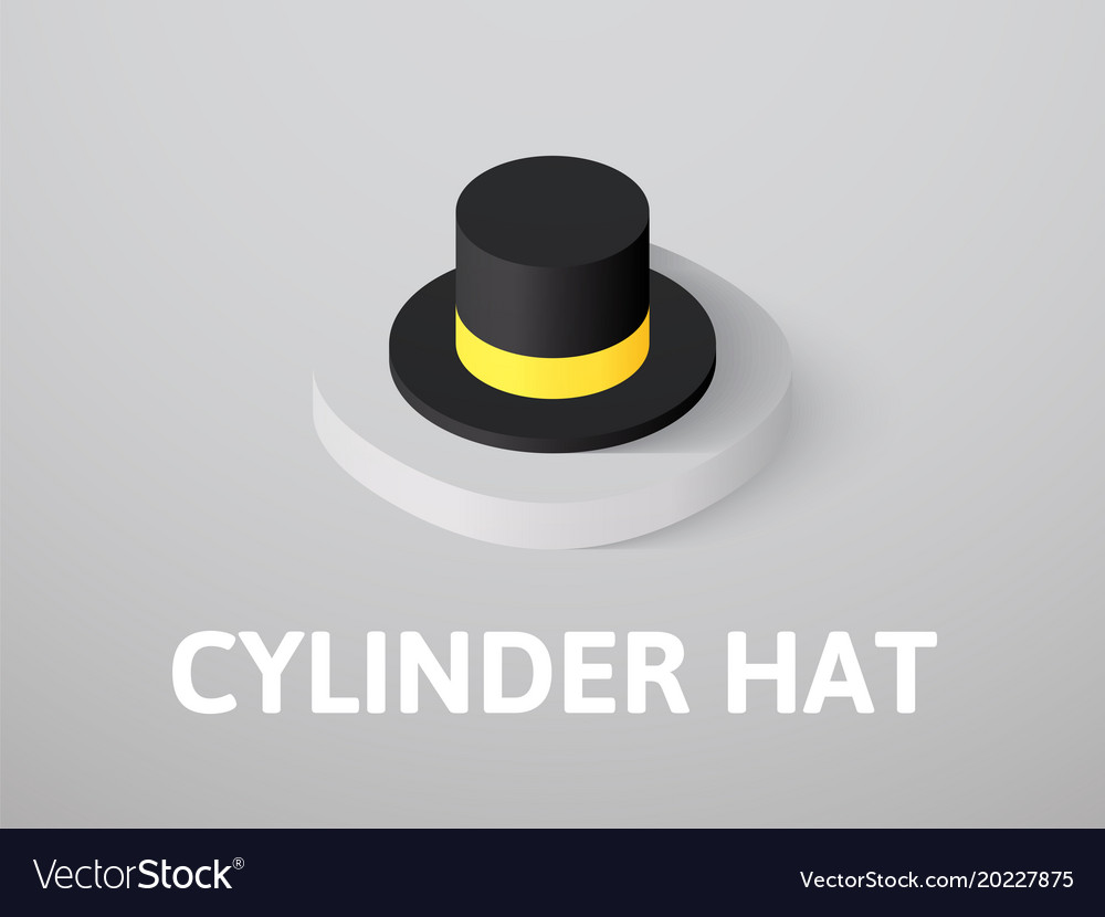 Cylinder hat isometric icon isolated on color