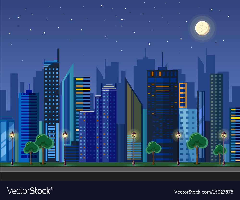 Flat style modern design of urban night city