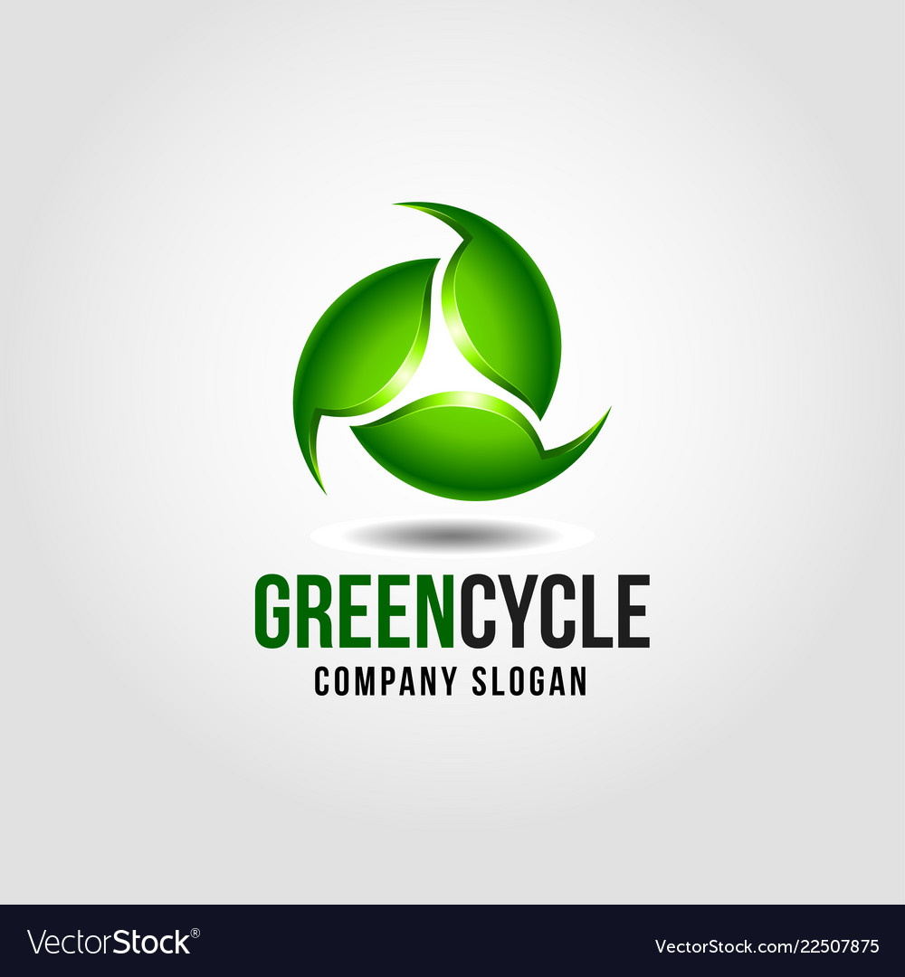 Green cycle - nature green leaf with 3d style logo
