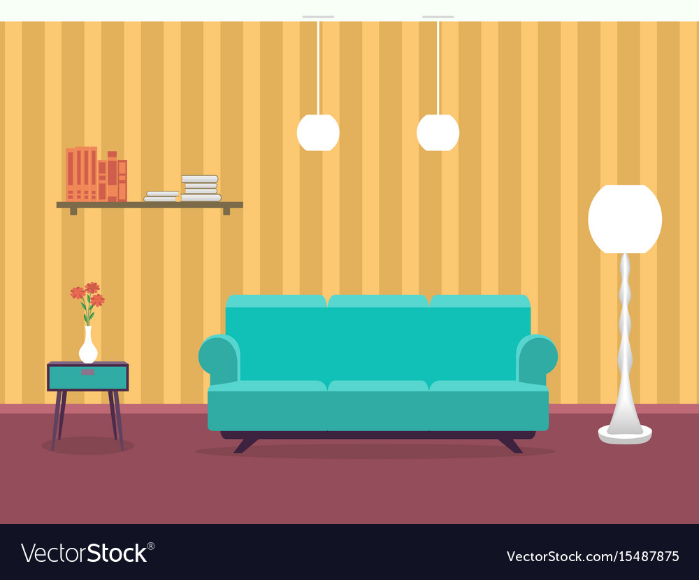 Interior design of living room in flat style with