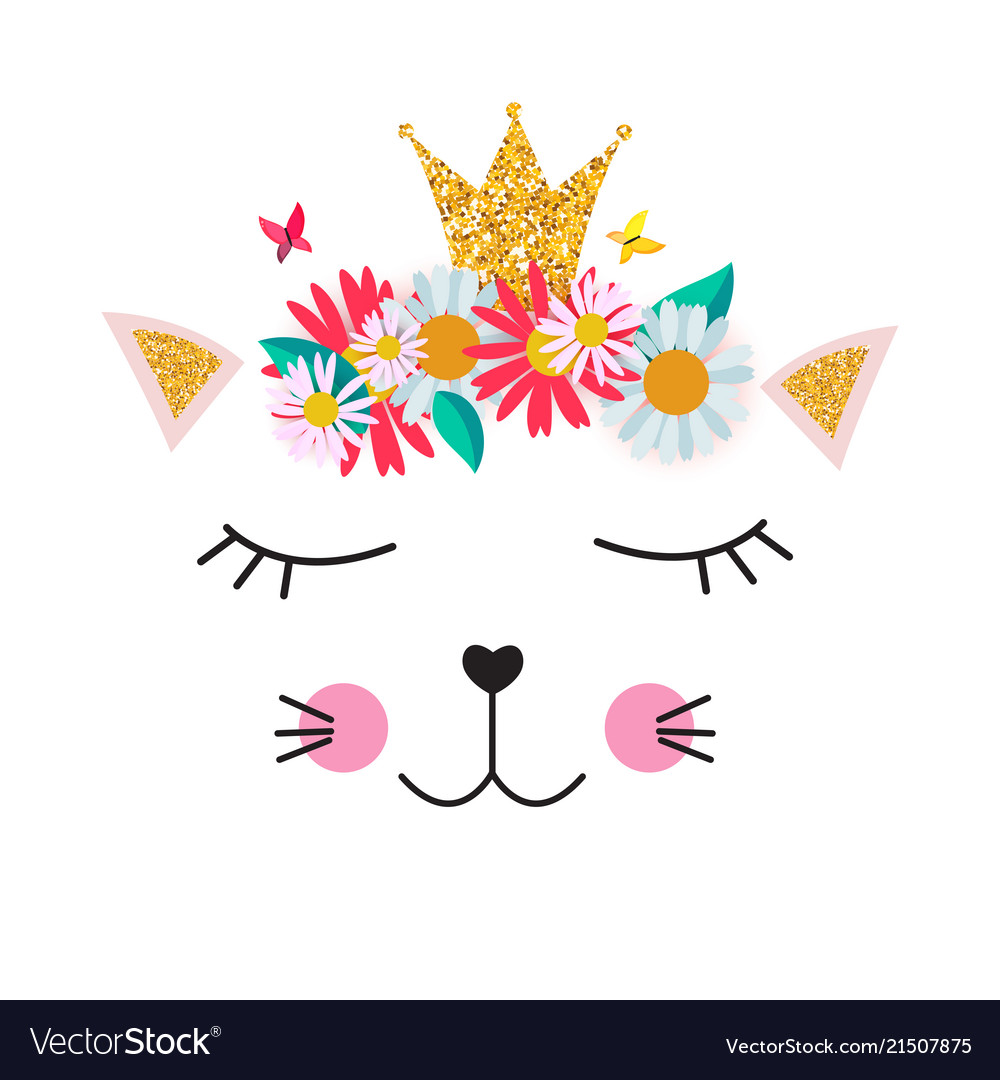 Little cute cat princess with crown and flowers