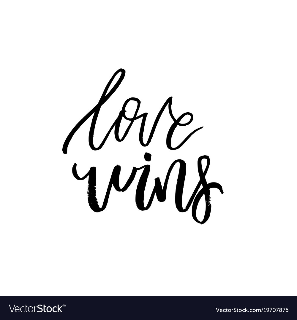 love wins happy valentines day card with vector image