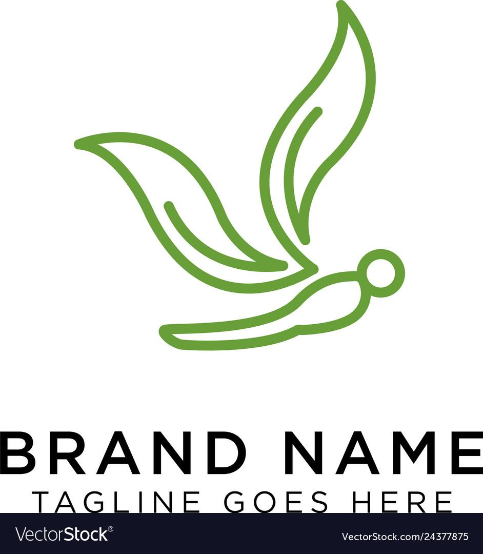 Minimalist elegant dragonfly logo design