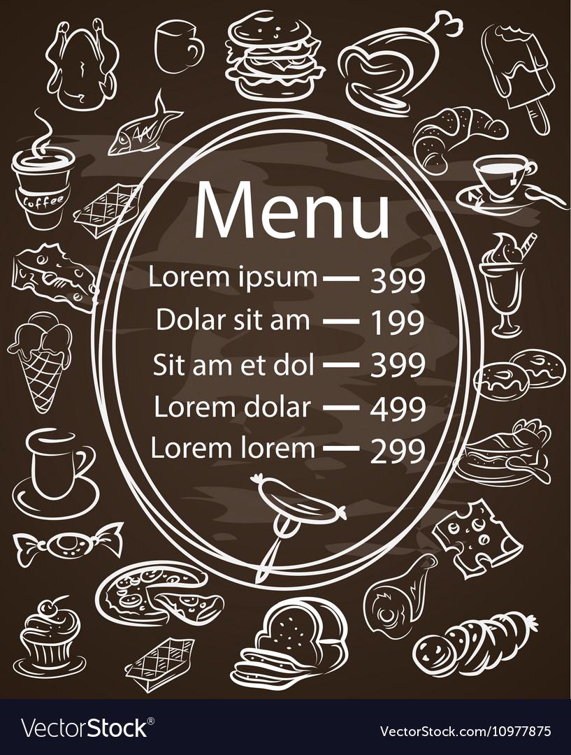 Seamless food menu written on chalkboard
