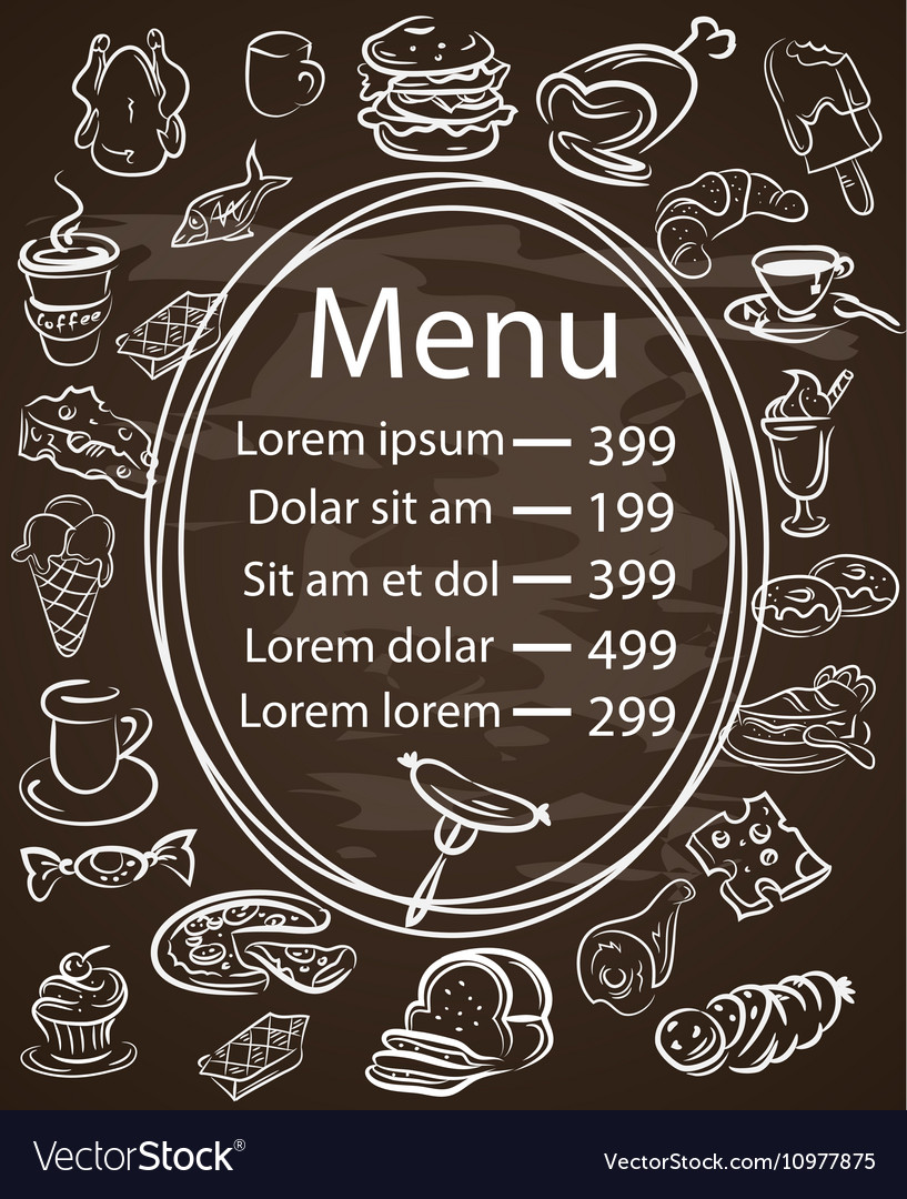 Seamless Food Menu Written on Chalkboard with