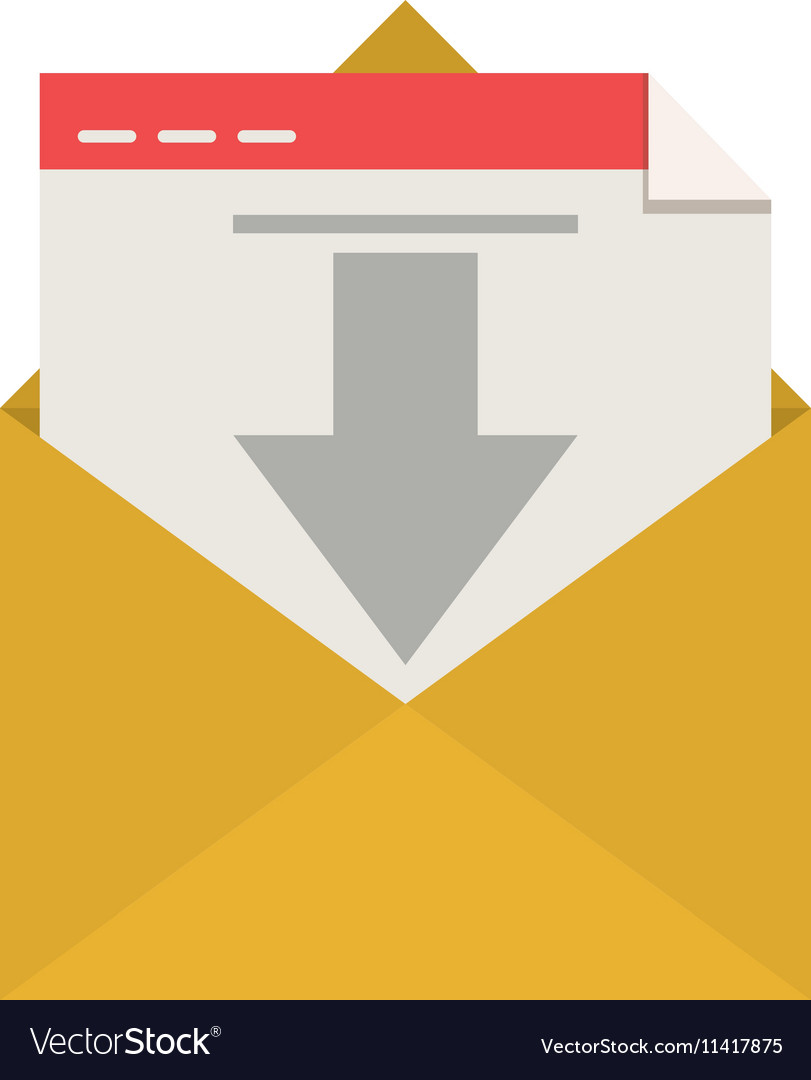 Silhouette envelope open mail arrow down vector image