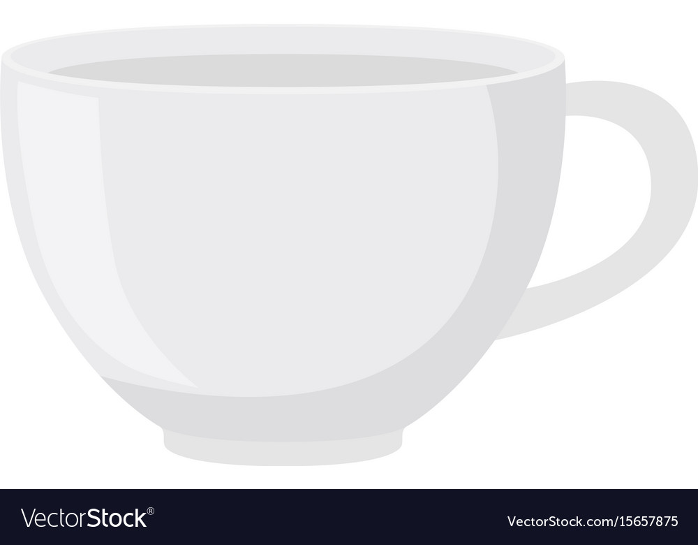 White tea cup in flat style