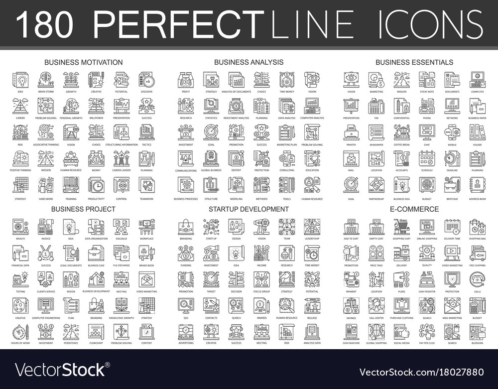 180 outline mini concept icons symbols of business