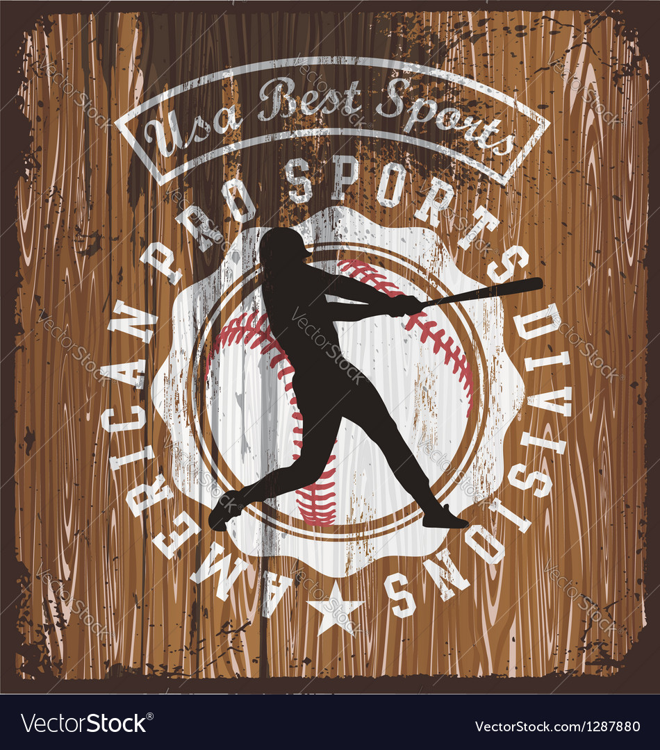 Baseball wood board vector image