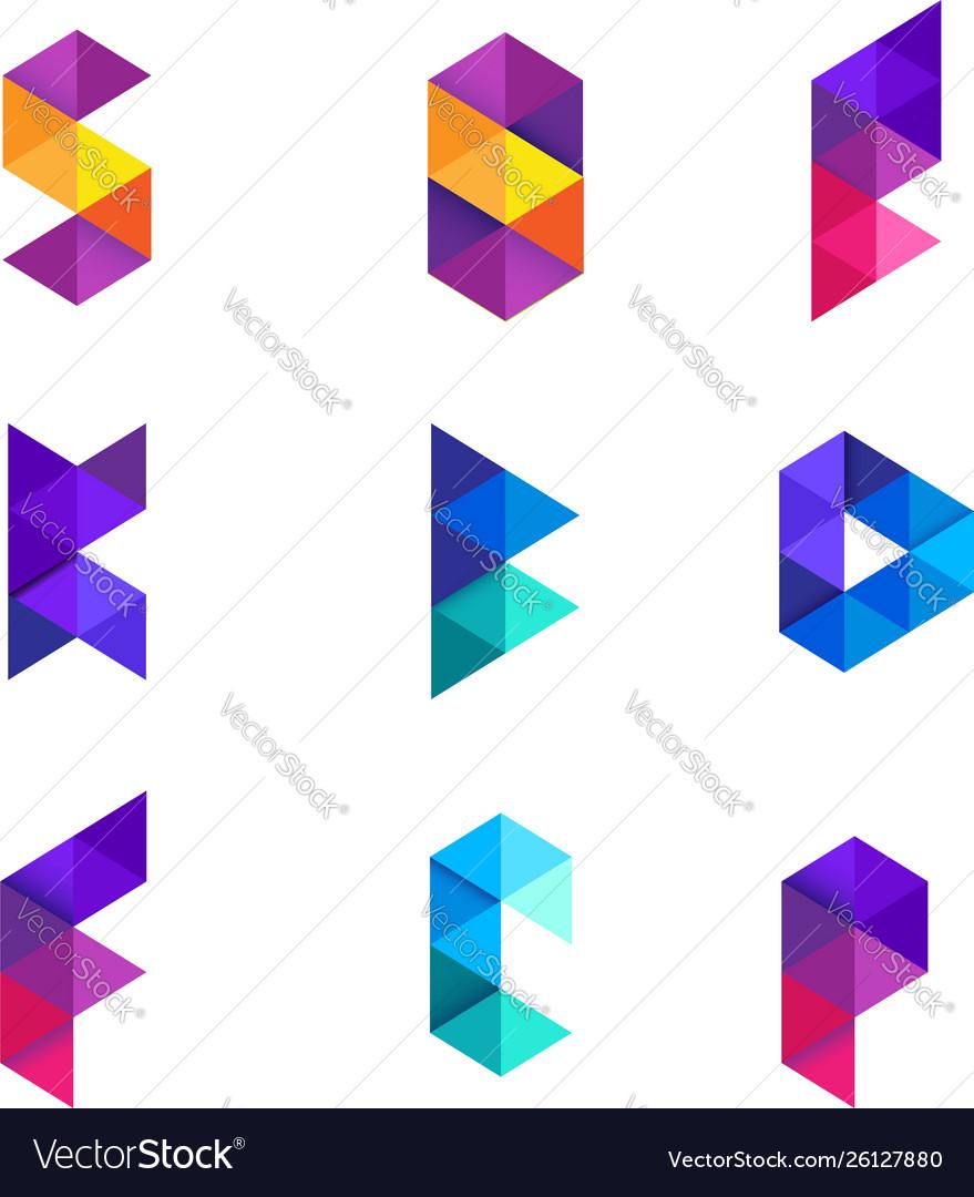 Colorful geometry alphabet letter logo design