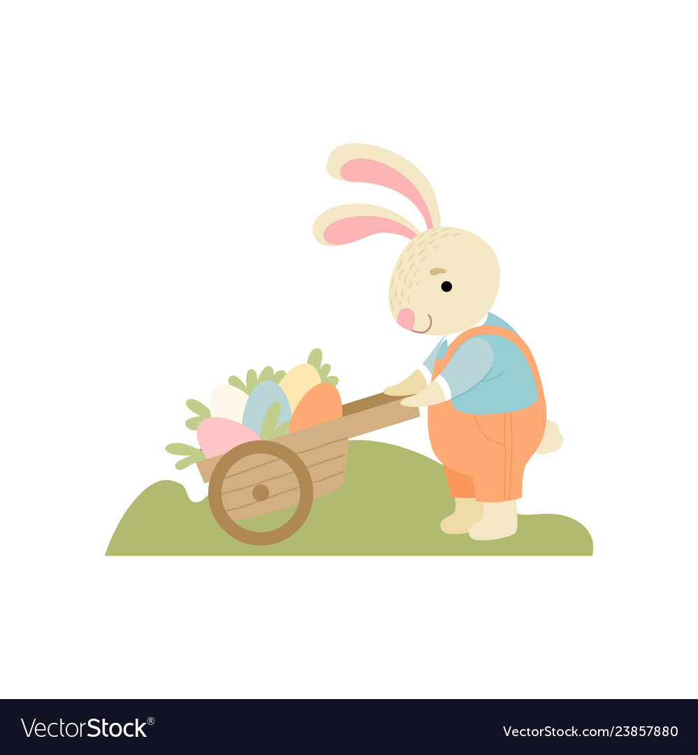 Cute bunny pushing wooden cart full of decorated