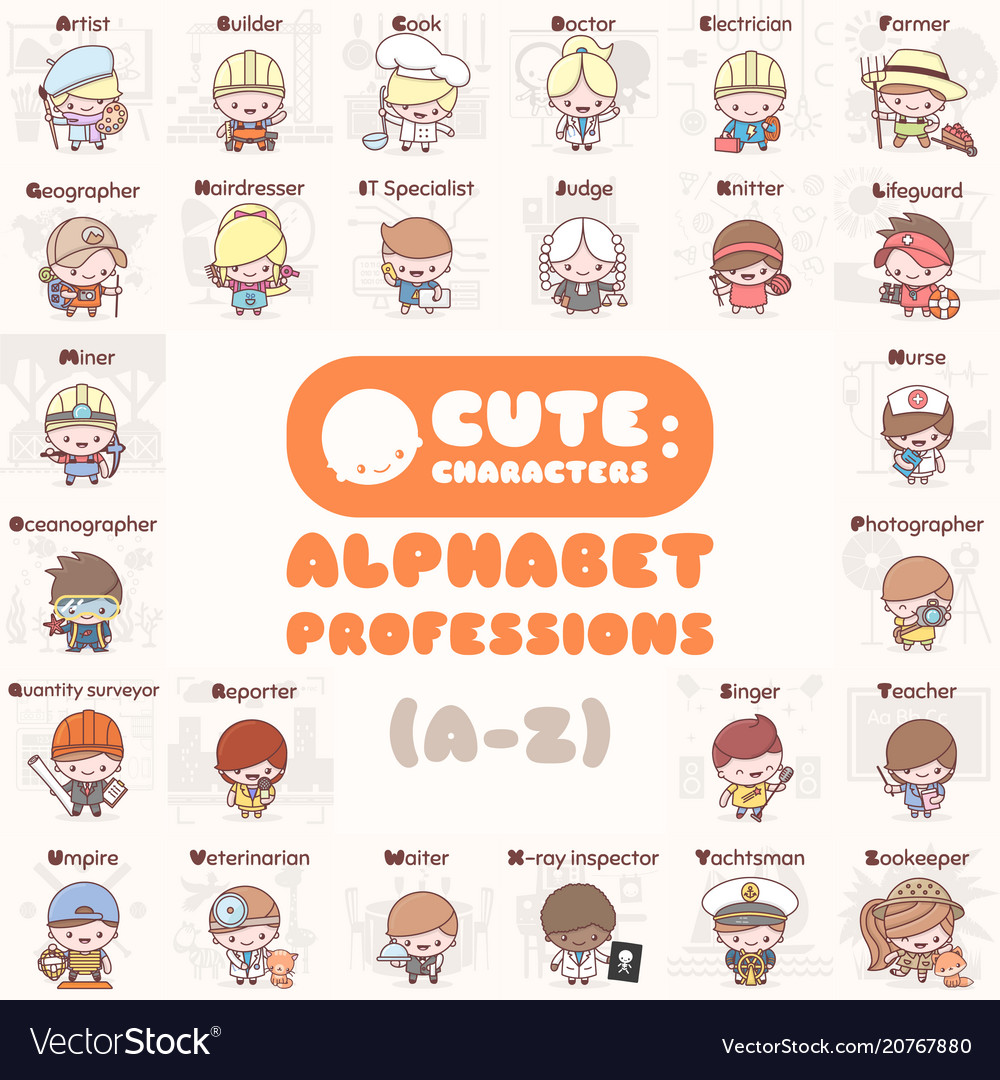 Cute kawaii characters alphabet professions