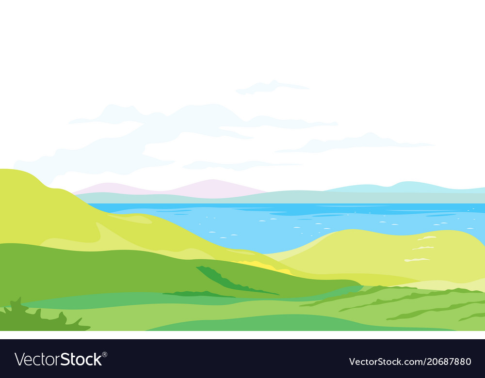 Lake in green valley panorama vector image