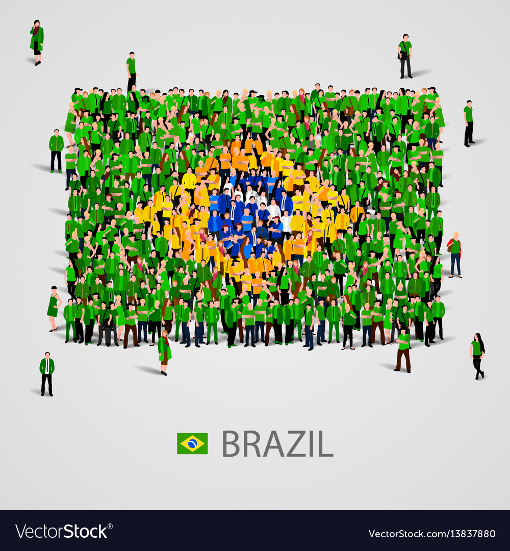 Large group of people in the brazil flag shape