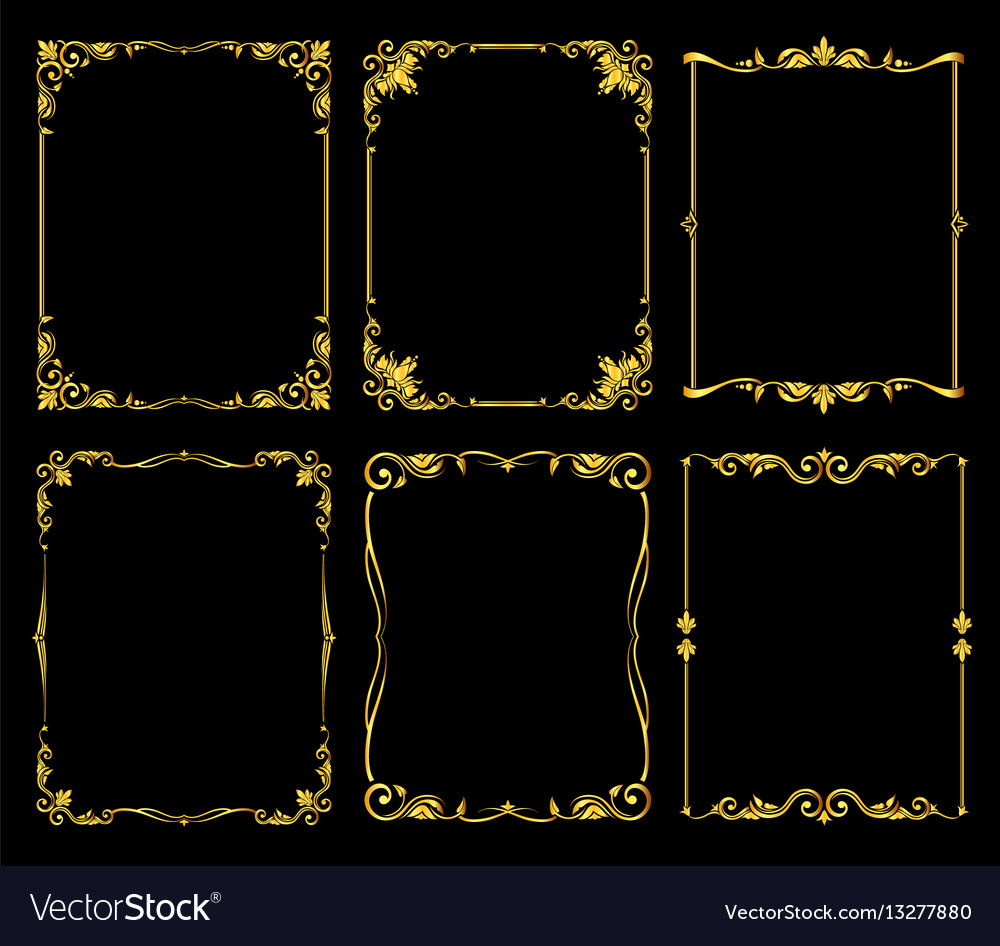 Ornate Golden Frames Set Over Black Royalty Free Vector