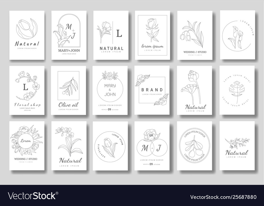Premium floral logo templates for wedding