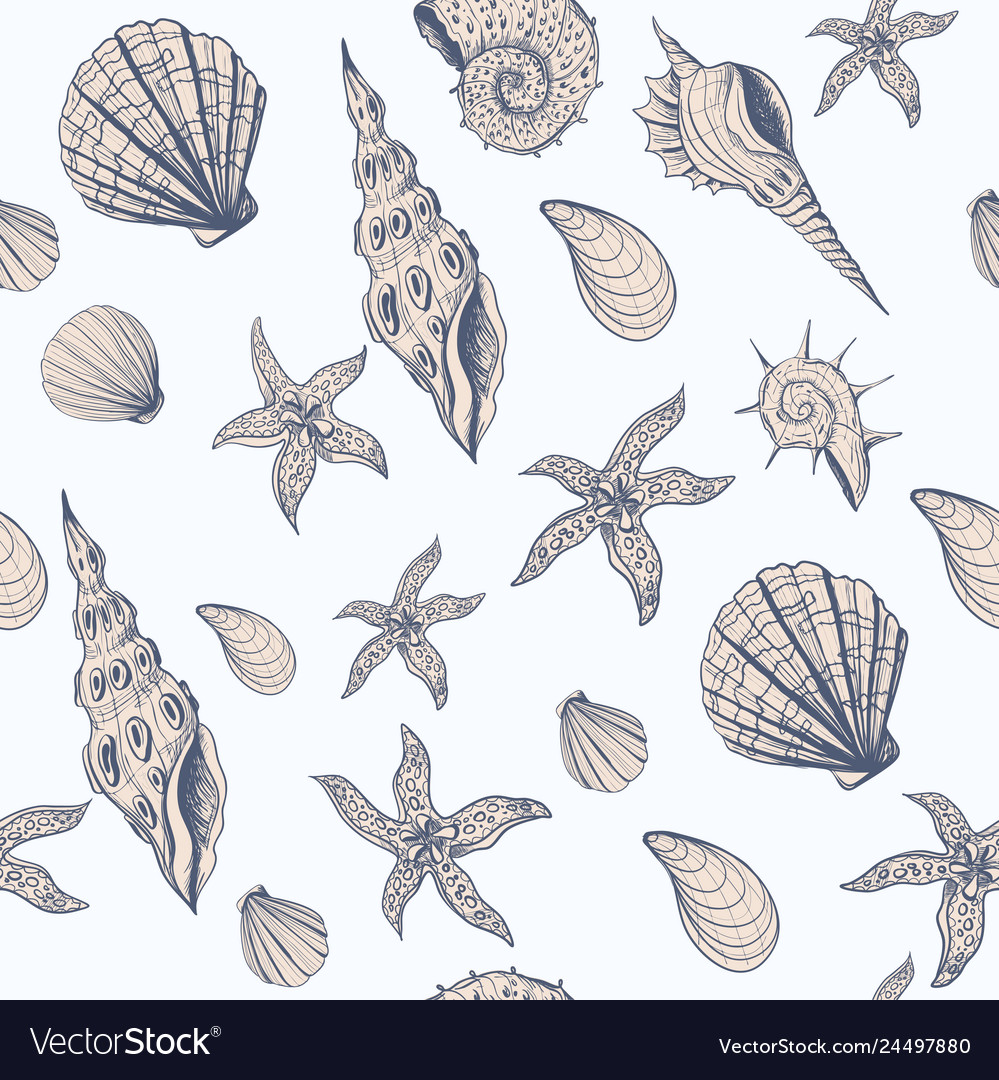 Seamless pattern with graphic shell in vintage