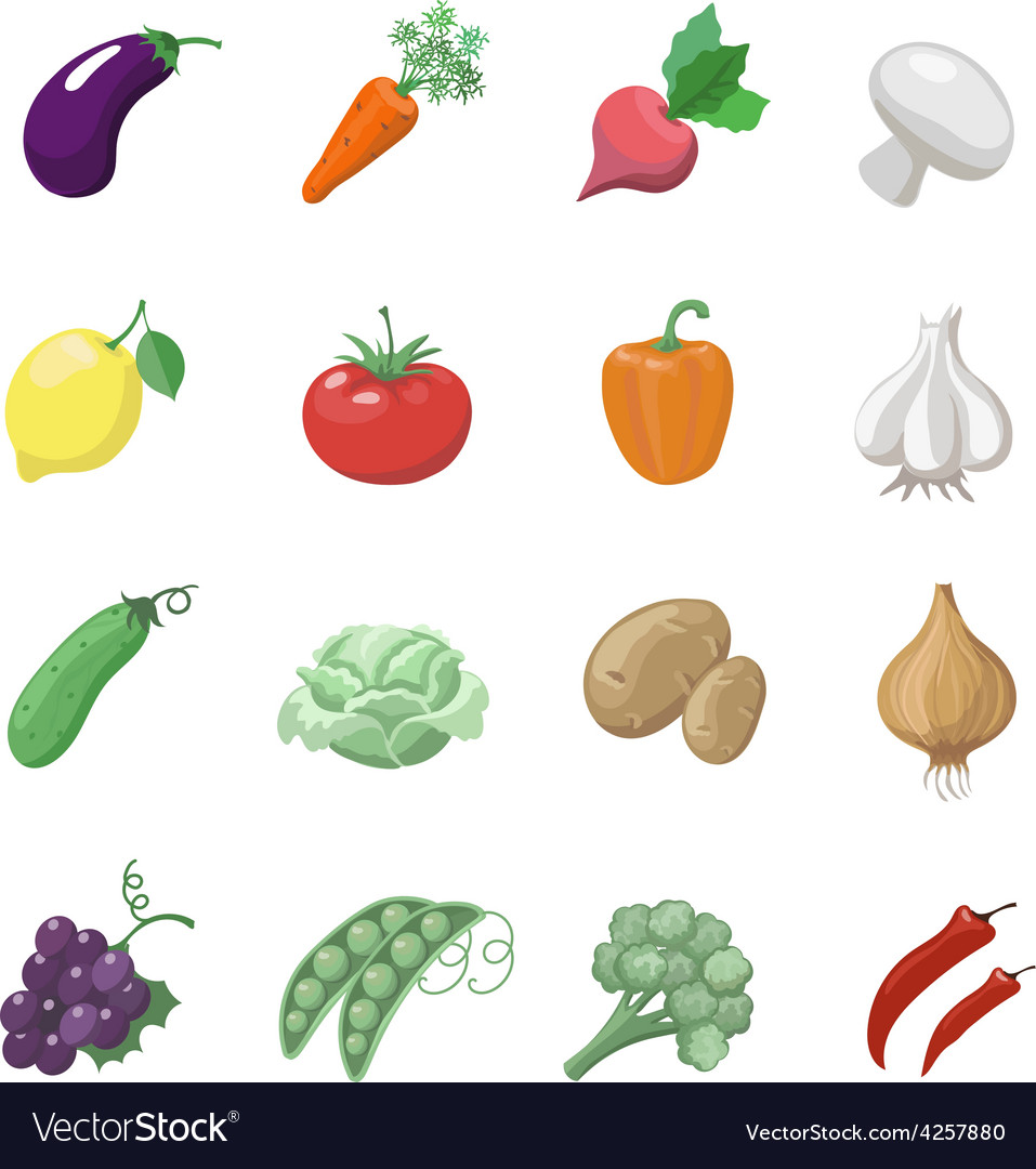 Vegetables icons flat set with potatoes broccoli