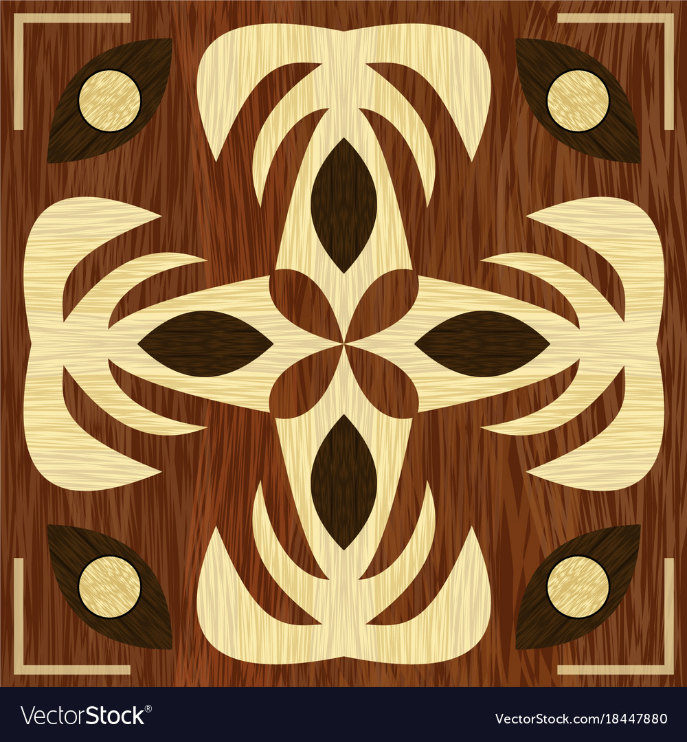Wooden art decoration template wooden inlay light Vector Image