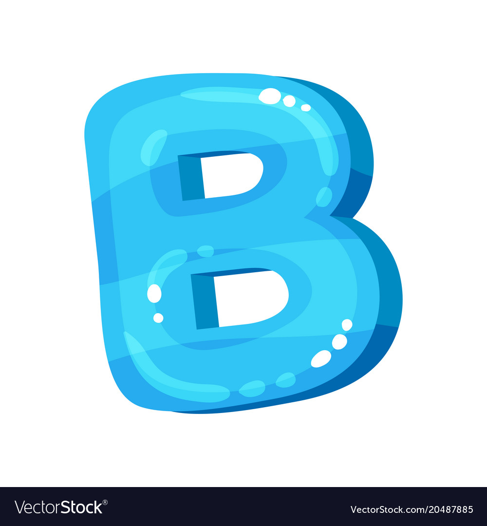 B blue glossy bright english letter kids font vector image