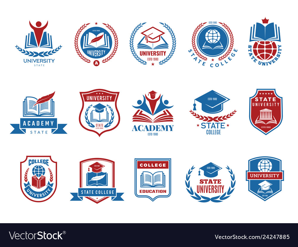 College emblem school or university badges and