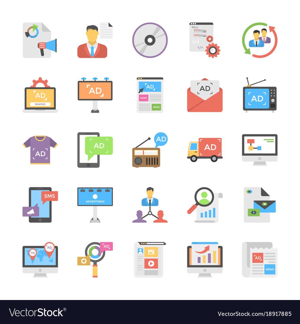 Creative flat icon media and advertisement set vector image
