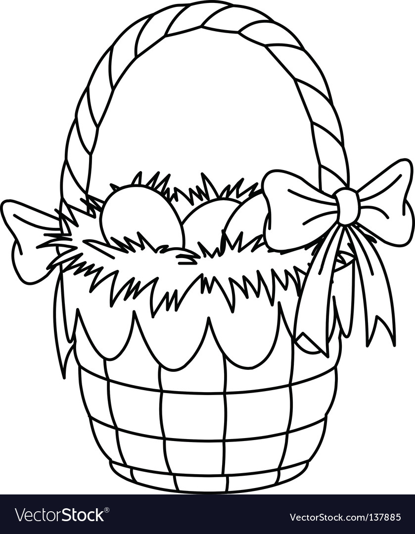 easter eggs in a basket colouring pages. Easter Basket Coloring Page