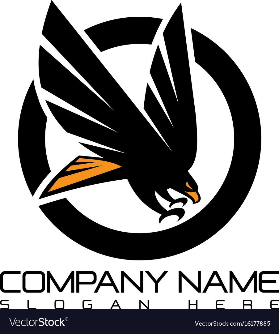 Emblem eagle flying logo concept icon vector image