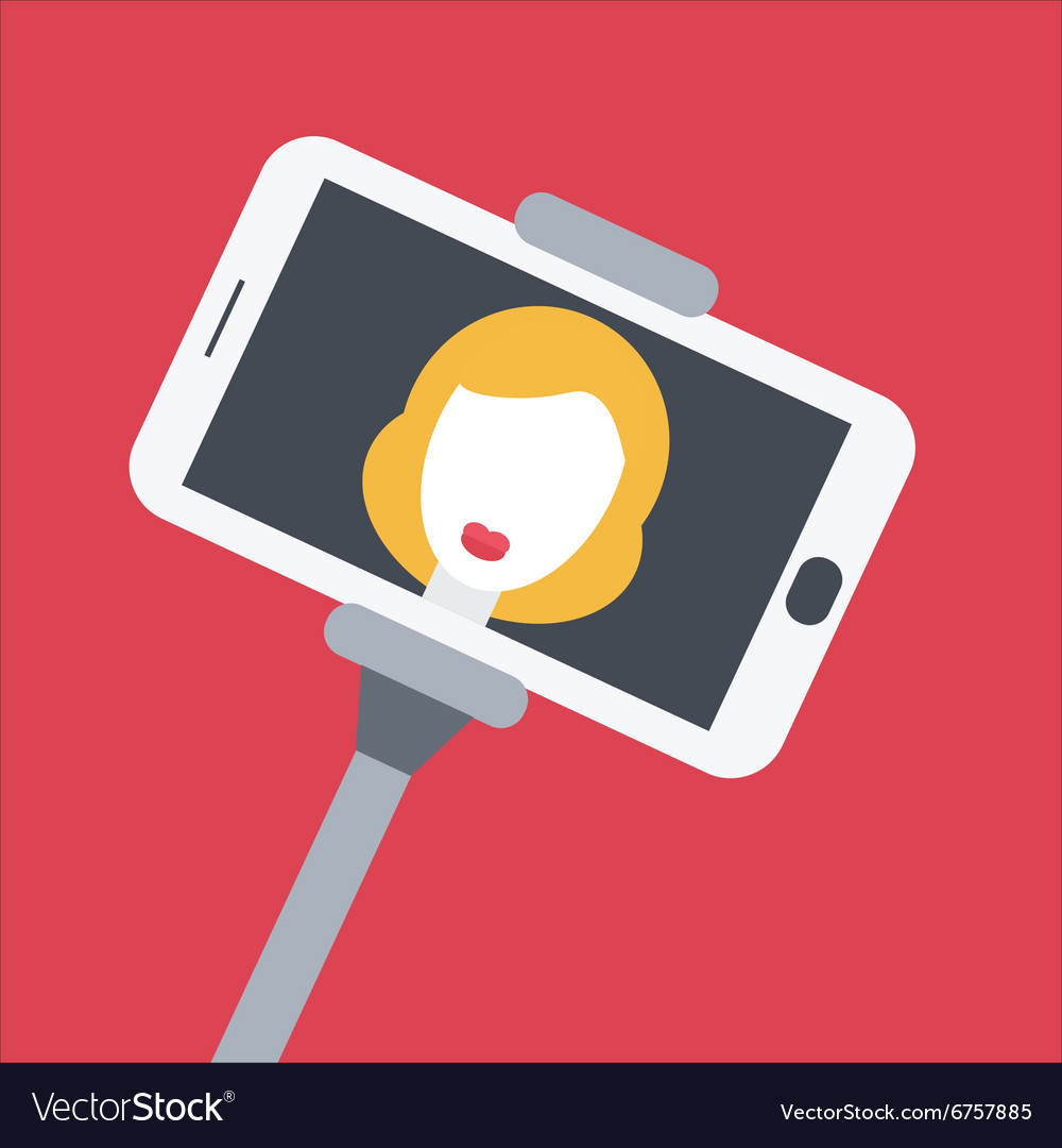 Flat design girl taking selfie with monopod vector image