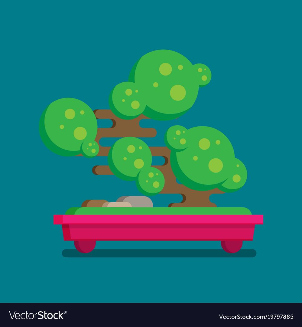 Flat icon of bonsai tree vector image