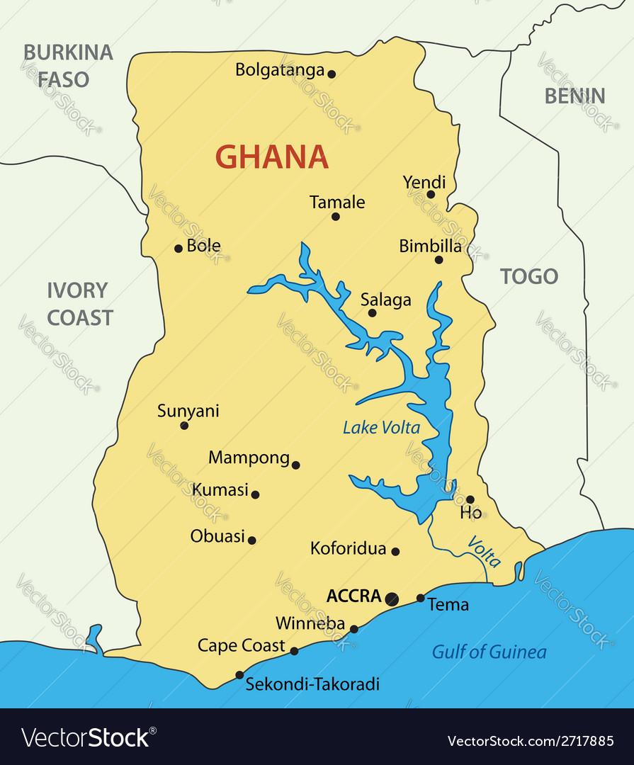 Ghana - map Royalty Free Vector Image - VectorStock
