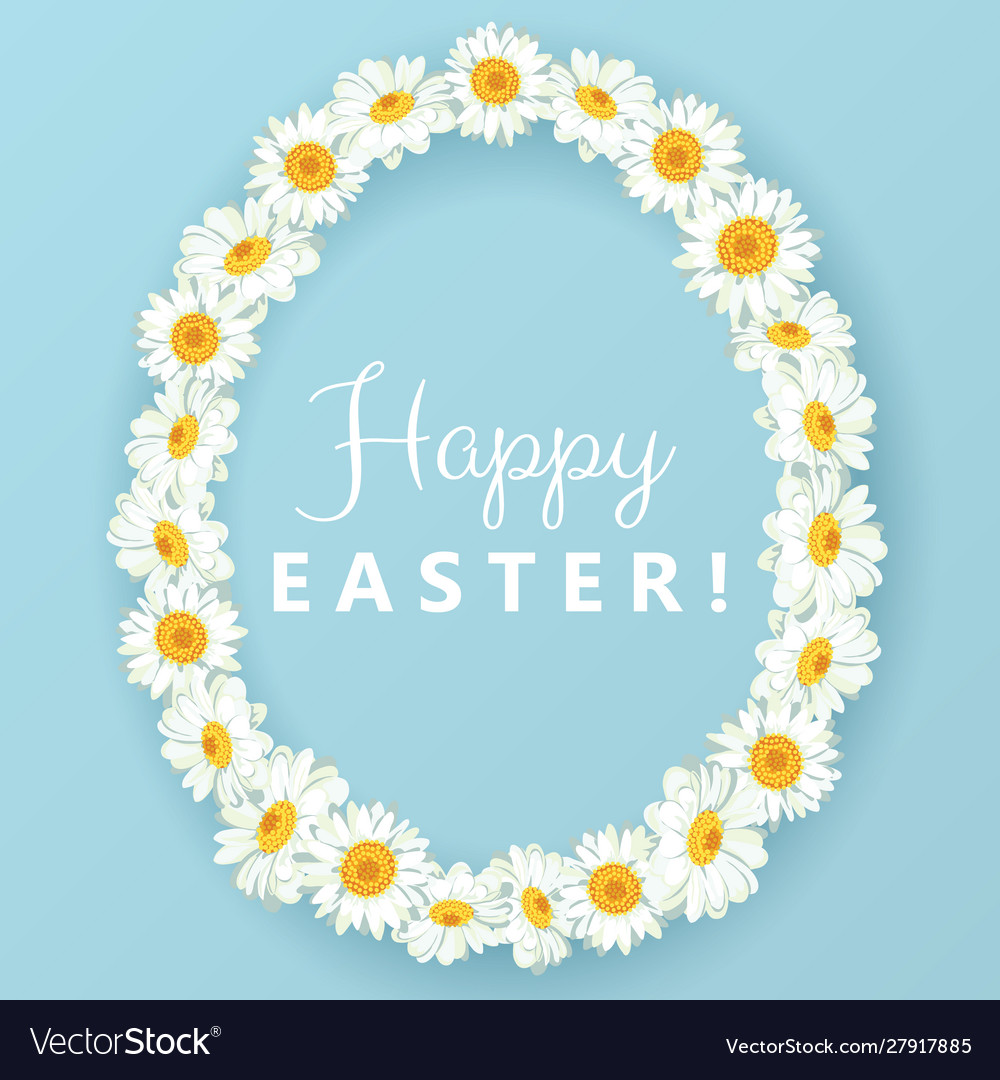 Happy easter card chamomile egg shape frame on